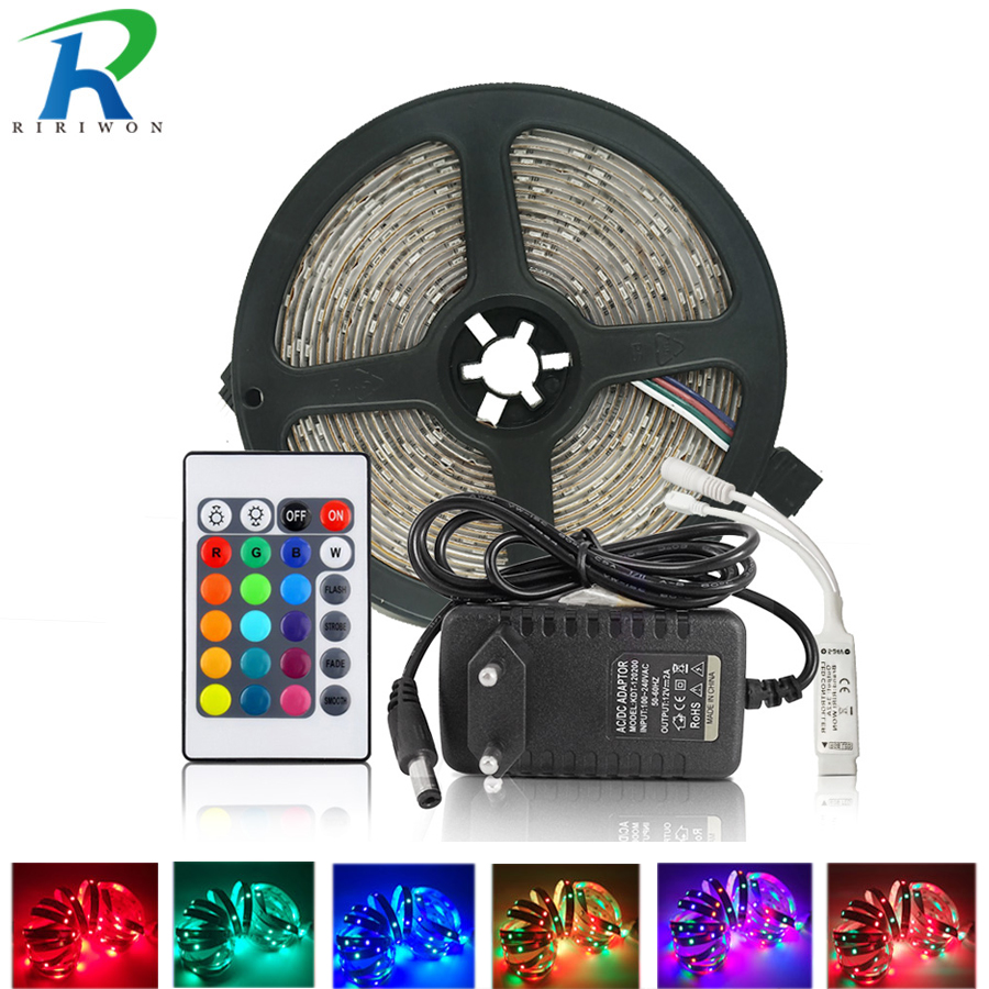 5 m 10 m RGB tira de luz Led 2835 cinta Led DC 12 V no resistente al agua 15 M 20 m cinta Led con ir 24 teclas remoto y juego de adaptador de corriente