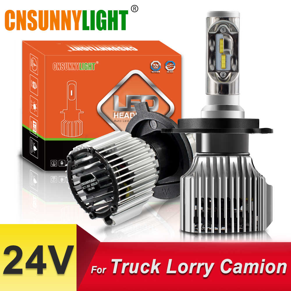 CNSUNNYLIGHT 24V Truck LED Headlight Bulbs H4 Hi/Lo H7 H11 H1 Super Bright 8500LM 880 H3 9005 9006 Replace Lorry/Camion Lights