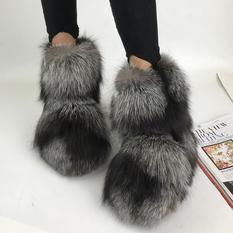 2018 Winter New Arrival Low-heeled Luxury Fox Fur Snow Boots Warm Fur Botas Shoes анна малышева задержи дыхание