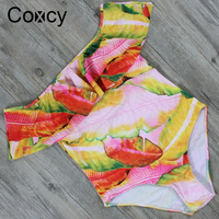 Coxcy Sexy One Piece Swimsuit Ruffle Off The Shoulder Printed Swimwear Women Bathing Suit Monokini Polyester