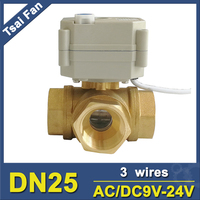 TF25 BH3 B Brass 1'' T/L Type 3 Way Horizontal DN25 Electric Ball Valve With Manual AC/DC9V 24V 3 Wires For Flow Control