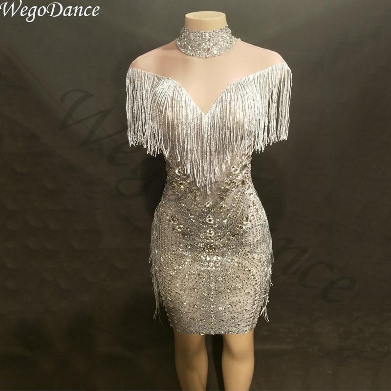 New Fashion Rhinestones Singer Dancer Costume Fringes Women Evening Birthday Celebrate Tassel Dress Nightclub Stage Women