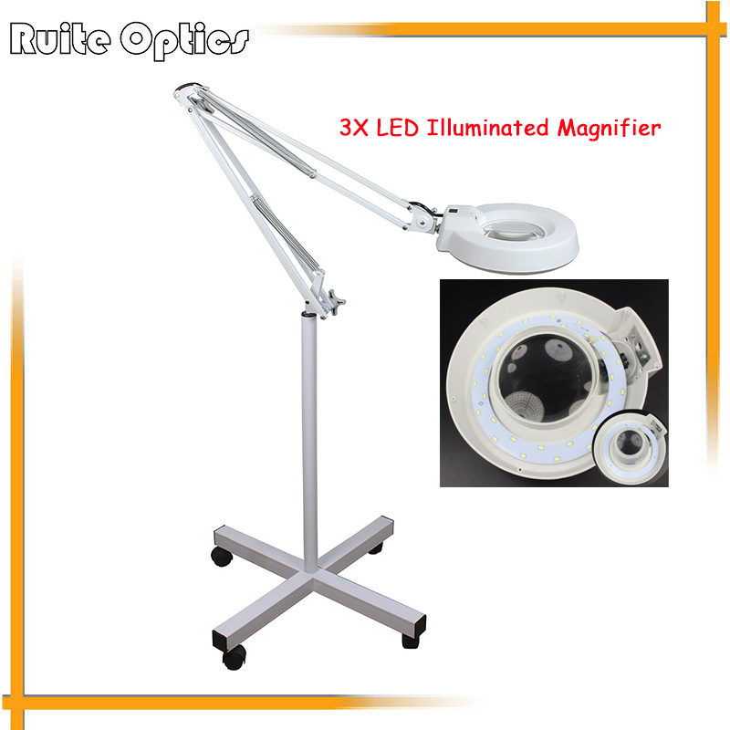 220V 3x Floor Stand White Optical Glass Lens LED Illuminated Big Magnifying Glass Large Lamp Magnifer with LED Light 220v 10x desk clip on led illuminated green optical big magnifying glass led lamp folding stand large magnifier with led lights
