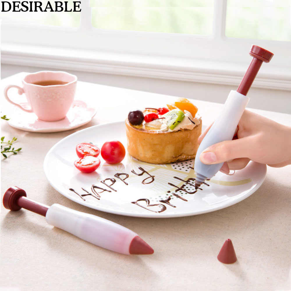 Silicone Food Dessert Decorator Pen Cake Decorating Tool Icing Piping   Pastry Nozzles Chocolate Syringe Pen Kitchen Accessories