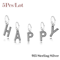Hot Sale 925 Sterling Silver Letter HAPPY Dangle Charms Pendant With Clear CZ For Women Fits European Charms Bracelets DIY Style