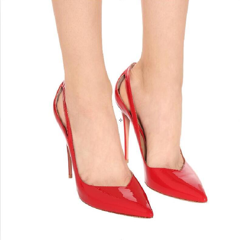 Chaud mode Sexy partie rouge en cuir verni bout pointu chaussure sans lacet talons fins chaussures pour femmes peu profondes dames pompesChaud mode Sexy partie rouge en cuir verni bout pointu chaussure sans lacet talons fins chaussures pour femmes peu profondes dames pompes