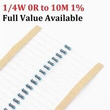 100 шт. 1/4W 1R-10M 1% 1K ohm 10K 4,7 k 2,2 K 100R 220R 470R 1/2/3/4/5/6/7/8/9/0.4.5.6.7/ r/K 0,25 W металлический пленочный резистор