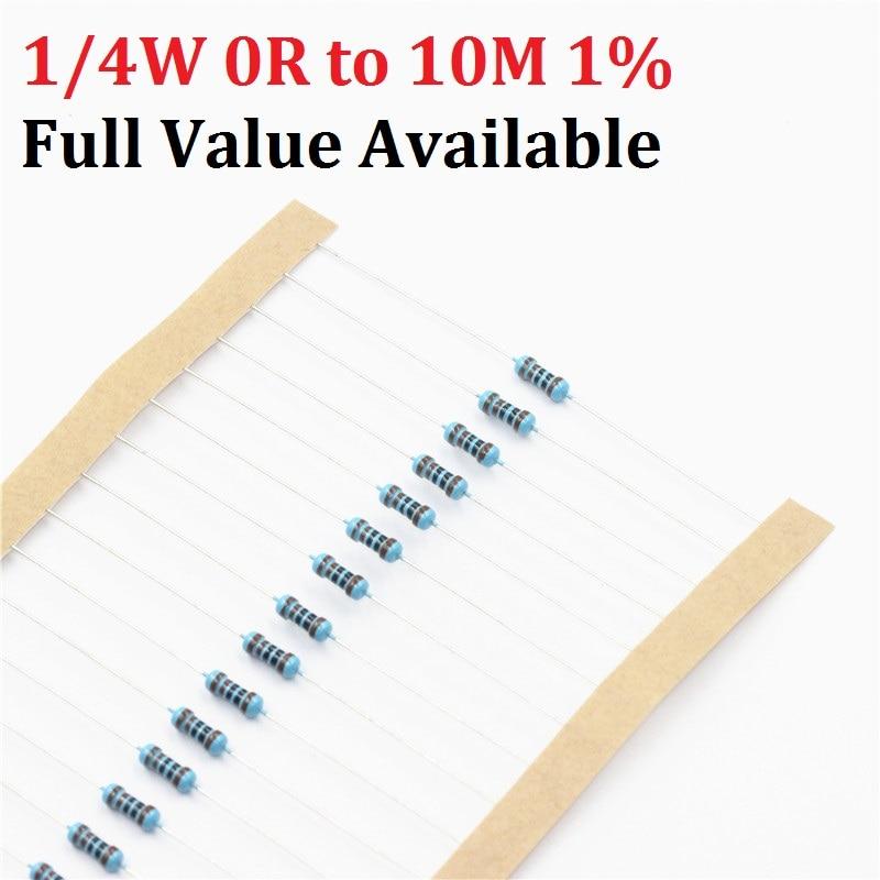 100pcs 1/4W 1R--10M 1% 1K Ohm 10K 4.7k 2.2K 100R 220R 470R 1/2/3/4/5/6/7/8/9/0.4.5.6.7/R/K 0.25W Metal Film Resistor Free Ship