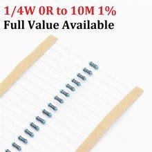 100 peças 1/4w 1r-10m 1% 1k ohm 10k 4.7k 2.2k 100r 220r 470r, 1/2/3/4/5/6/7/8/9/0.4.5.6.7/r/k 0.25w resistor de filme metálico frete grátis