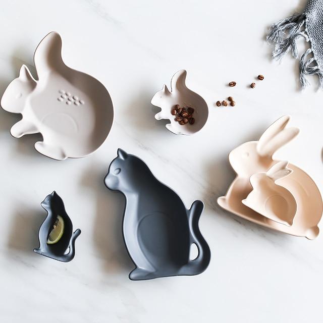 Милые животного Форма мультфильм шаблон Однотонная одежда Керамика блюдо Творческий десерт закуски фруктов блюдо