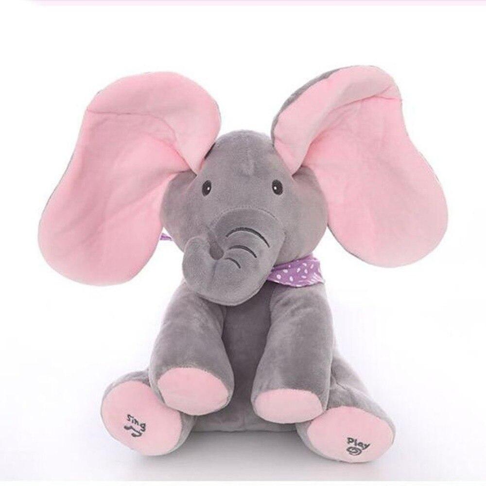 Dropshipping 30 cm Peekaboo Espreita-uma-boo de Pelúcia Elefante Elétrica Piscando com Concert Singing cinza rosa Versão atualizada boneca