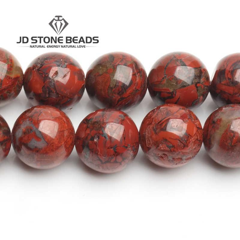 ขายหินธรรมชาติลูกปัดสีแดงเลือด Jasper อัญมณีลูกปัดกลม 6/8/10/12 มม. เลือกขนาด Breciated jasper สำหรับเครื่องประดับทำ
