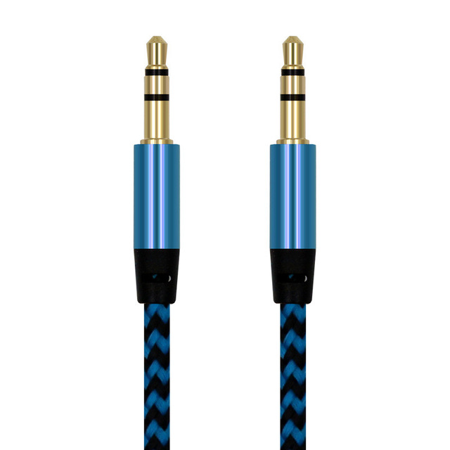 1m Nylon Jack Audio Cable 3.5 mm to 3.5mm Aux Cable Male to Male Gold Plug Car Aux Cord for iphone 7 for Samsung Speaker