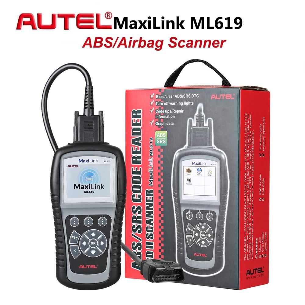 Autel MaxiLink ML619 OBD2 Car Code Reader ABS SRS Scanner Airbag Diagnostic Tool Automotive Scan Tools OBD 2 DIY Fault Code Read