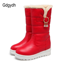 Gdgydh Sexy Crystal Warm Snow Boots Women Waterproof 2017 New Comfortable Wedges Winter Shoes Thickening Plush