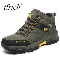 Hot Atumn Winter Men Hiking Shoes Outdoor Shoes Big Size Mountain Boots Leather Trekking Sneakers High
