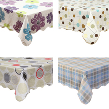 Waterproof & Oilproof Wipe Clean Vinyl+Flannel Tablecloth Dining Kitchen Table Cover Protector Oilcloth Fabric Covering