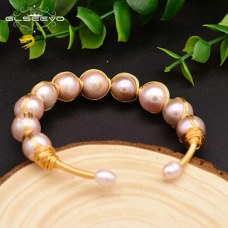 XlentAg Original ธรรมชาติ Fresh Water สีม่วงไข่มุก Handmade กำไลข้อมือสำหรับเจ้าสาวงานแต่งงานเครื่องประดับ GB0117