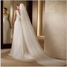 Свадебные аксессуары белый 3 метра ширина 1,5 м свадебная вуаль цвета слоновой кости Свадебная вуаль Velos de novia головной убор дешево