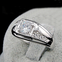 GALAXY Brand Fashion Men 1 Carat CZ Diamond Wedding Rings For Men Real 18K White Gold