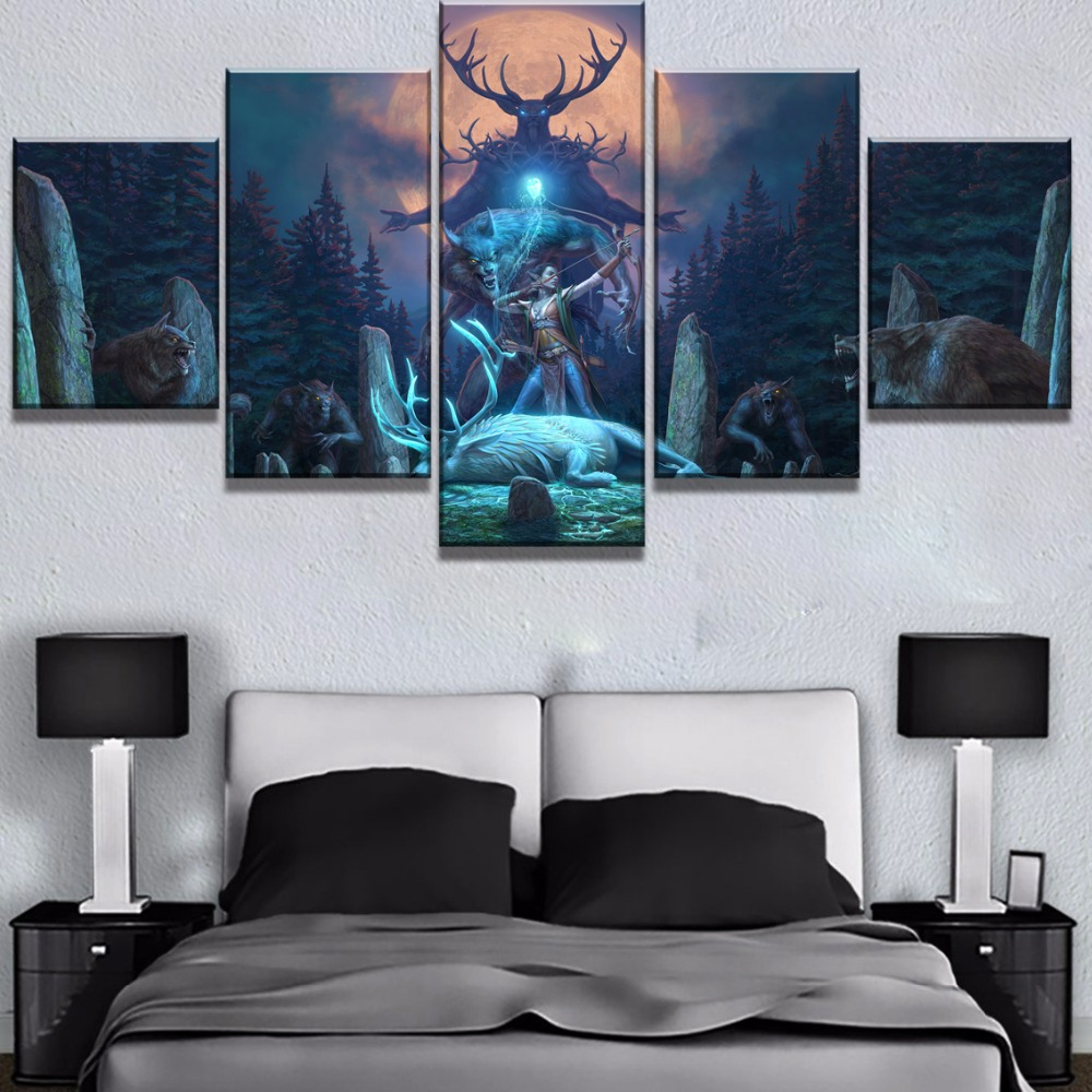 5 Piece Canvas Art Elder Scrolls v Skyrim Wolf Deer Moon Game Paintings on Canvas Wall Art for Home Decorations Wall Decor in Painting Calligraphy from Home Garden