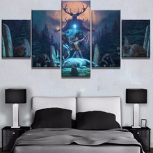 5 Piece Canvas Art Elder Scrolls v Skyrim Wolf Deer Moon Game Paintings on Canvas Wall Art for Home Decorations Wall Decor wall art wolf howl print canvas paintings