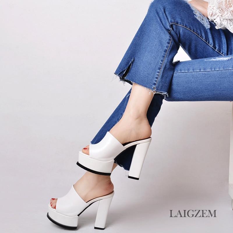 LAIGZEM Women Heels Slip On Waterproof Real Leather Chunky Heel Pumps Mules Slingback PARTY Shoes Woman Feminino Big Size 33-42 (3)