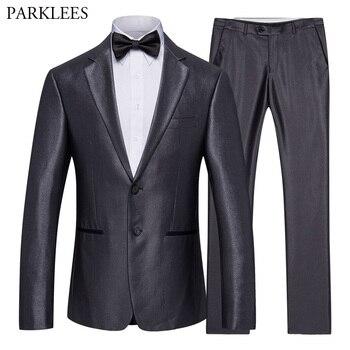 42cdeecb7 Traje de 2 unidades (chaqueta + pantalones) traje de novio de boda de lujo para  hombre ajustado trajes para hombre traje de negocios trajes formales para  ...