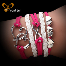 Fashion Leather Double Infinite Bracelets Multilayer Braided Vintage Owl Bracelets For Women Gift AB073