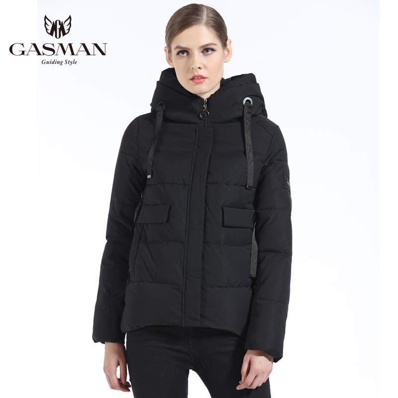 GASMAN 2019 Women Winter Coat Short Fashion Slim Down Jacket Brand Female Windproof Overcoat Casual Hooded Bio Down   Parka   Winter