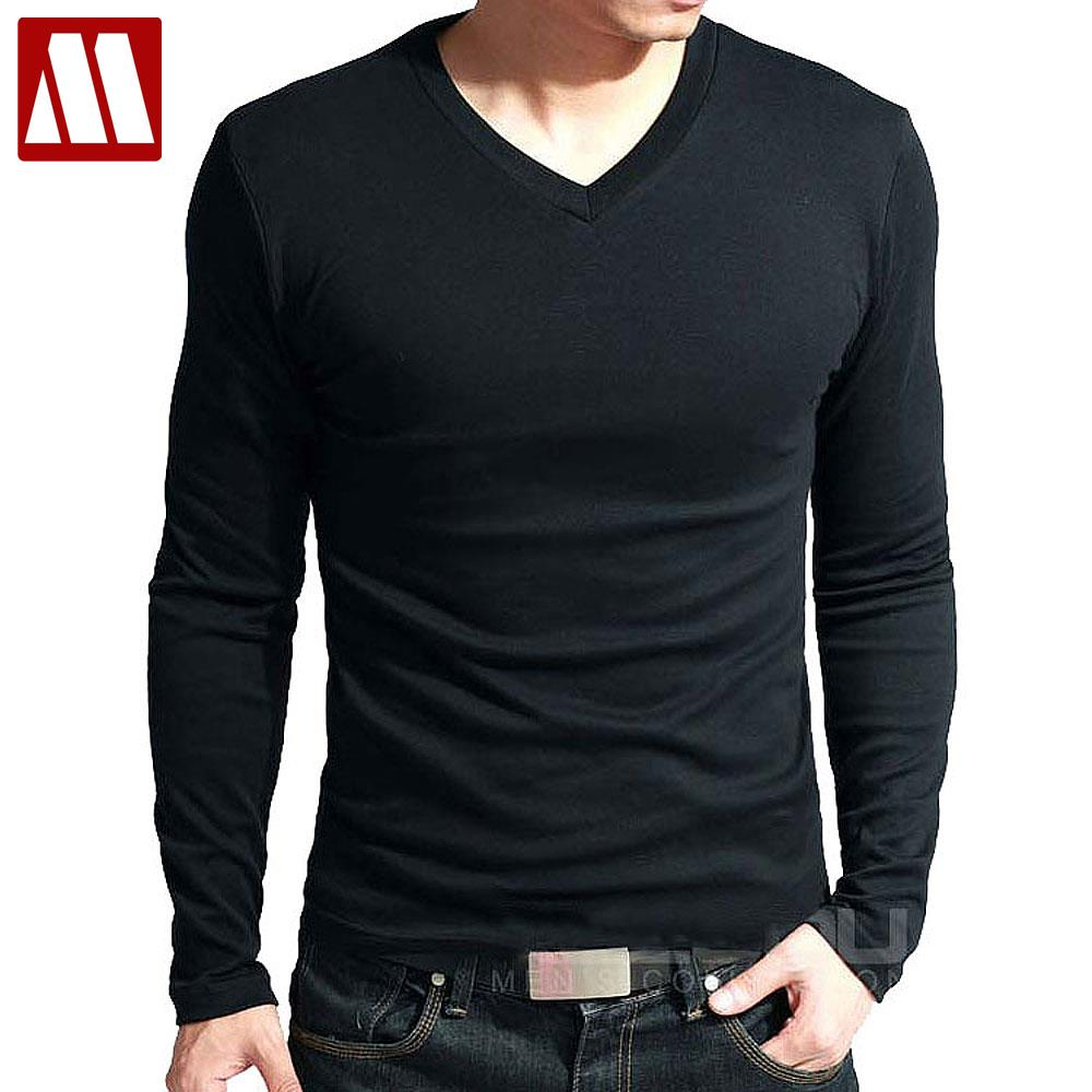 T-shirts high elastic cotton men's long sleeve v neck