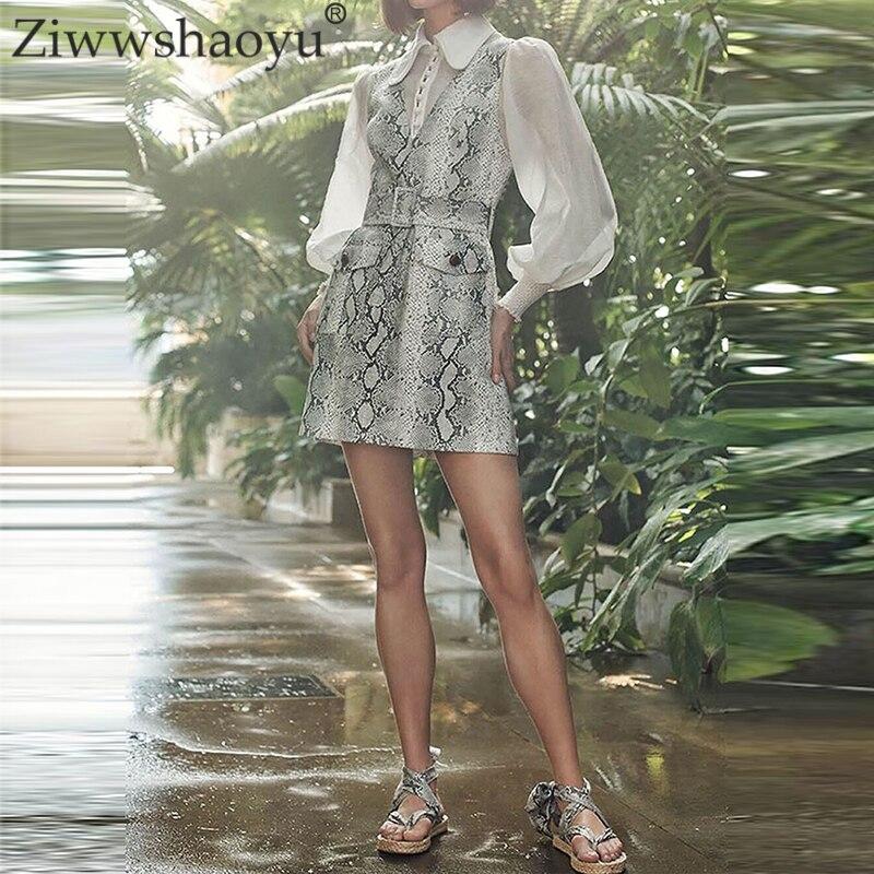 Ziwwshaoyu Mode Serpent D'impression robes Col V Ceintures Poches élégant Réservoir robe + chemise de Printemps et d'été nouvelles femmes