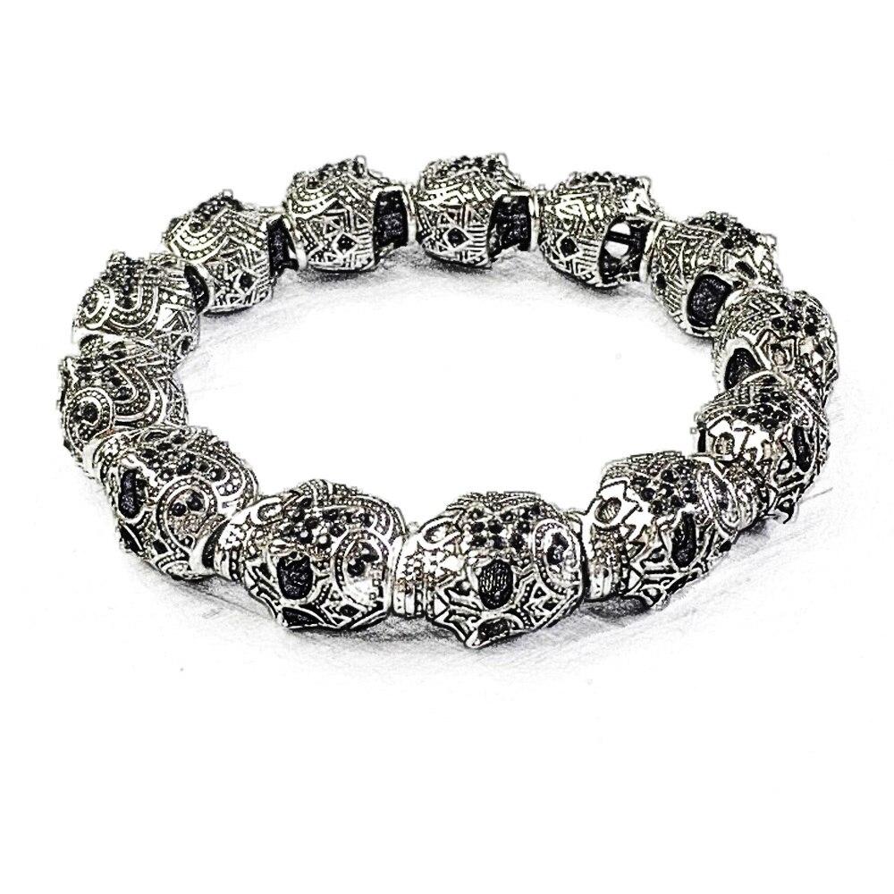 Silver Black Zirconia Skulls King Karma Bead Bracelets, 2018 European Classic DIY Skeleton Bracelet Jewelry Gift For Women Men