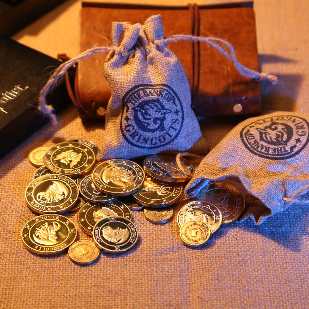 Hogwarts Gringotts Bank Coin Cosplay Collection Coins Wizarding World Noble with cloth bank bag Christmas New year Gift For Fans Сумка
