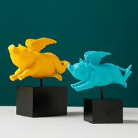 Nordic style angel pig resin decorative sculpture decoration Cute winged pig home office crafts statue
