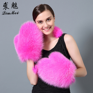 QiuMei Winter Fur Gloves for Women Genuine Fox Fur Real Leather Palm New 2017 Brand Glove Russian Fox Fur Glove&Mittens Lined