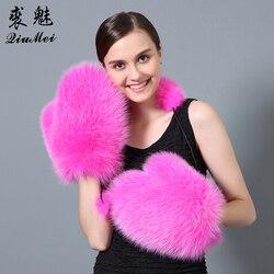 QiuMei-gants d'hiver en fourrure pour femmes | Fourrure de renard véritable, paume en cuir véritable, gant de marque 2017 en fourrure de renard russe et mitaines