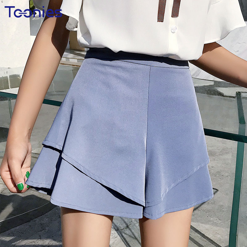 2018 New Design Summer Shorts Women Solid Color All-match Female Above Knee Trousers Ruffles A-line Shorts Skirts Women Clothes