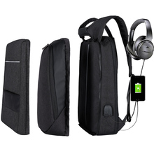 XQXA Men's Backpack Black Fashion Changeable Multifunction USB Charging Men 17 inch Laptop Backpacks Travel Business Bag For Men