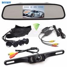 DIYKIT Wireless Video Parking Radar 4.3 Inch Car Mirror Monitor + IR Car Rear View Camera 4 Sensors Parking Assistance System
