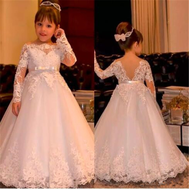 Newest Cheap   Flower     Girls     Dress   For Weddings Long Sleeves Lace Appliques Sash Ball Gown Holy First Communion   Dress   Pageant Gowns