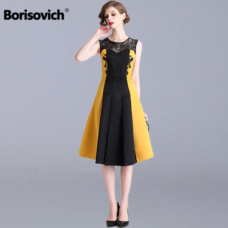 Borisovich Women Casual A line Dress New Brand 2019 Spring Fashion Sleeveless Patchwork Lace Elegant Ladies