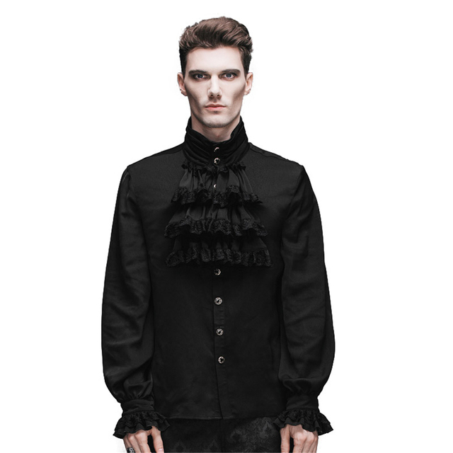 81d86c88bc7 Стимпанк Стиль Для мужчин рубашка Gothic модная новинка Однобортный шифон с  длинным рукавом мужская черная рубашка
