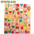 UTOYSLAND 28 Pcs/Set Animal Wooden Domino Blocks for Kids Play Intelligence Blocks Montessori Education Toy Free Shipping