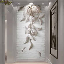 beibehang Custom wallpaper mural 3d three-dimensional white European-style relief porch partition wall background