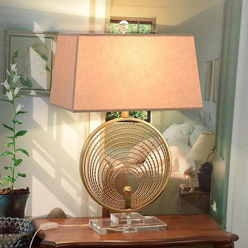 Современная многослойная металлическая настольная лампа с кольцом для гостиной, современная настольная лампа E27, K9 Хрустальная прикроватн