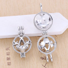 5pcs Bright Silver Beautiful Elk Pearl Cage จี้น้ำมันหอมระ(China)