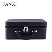FANXI Free Shipping Wooden Wrapped With Black PU Jewellery Packing Boxes For Rings And Pendants Leather
