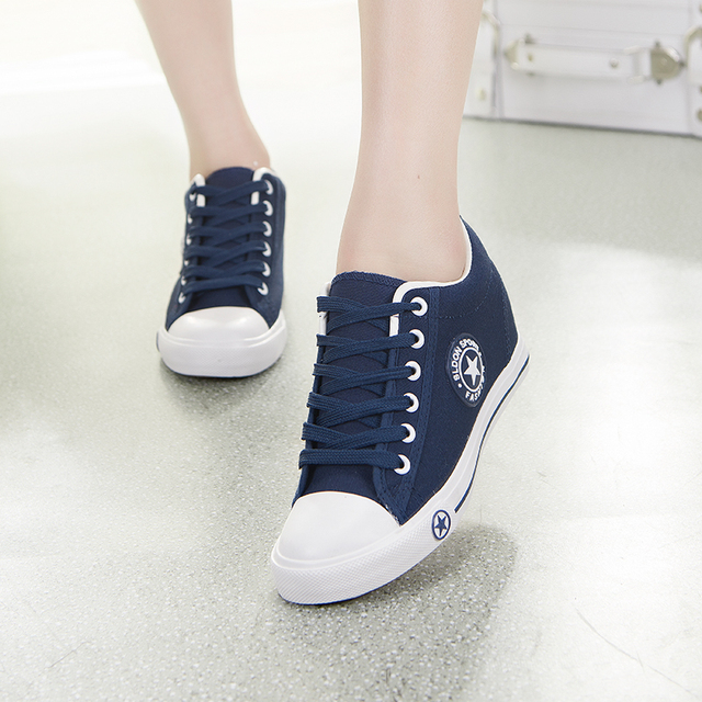2017 spring and autumn women's elevator canvas shoes  fashion casual shoes for women platform brand lady shoes