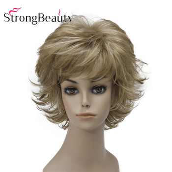StrongBeauty Short Synthetic Wigs Blonde Natural Wavy Fluffy Layered Cut With Bangs - discount item  20% OFF Synthetic Hair